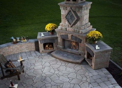 multi-tiered fire pit installation